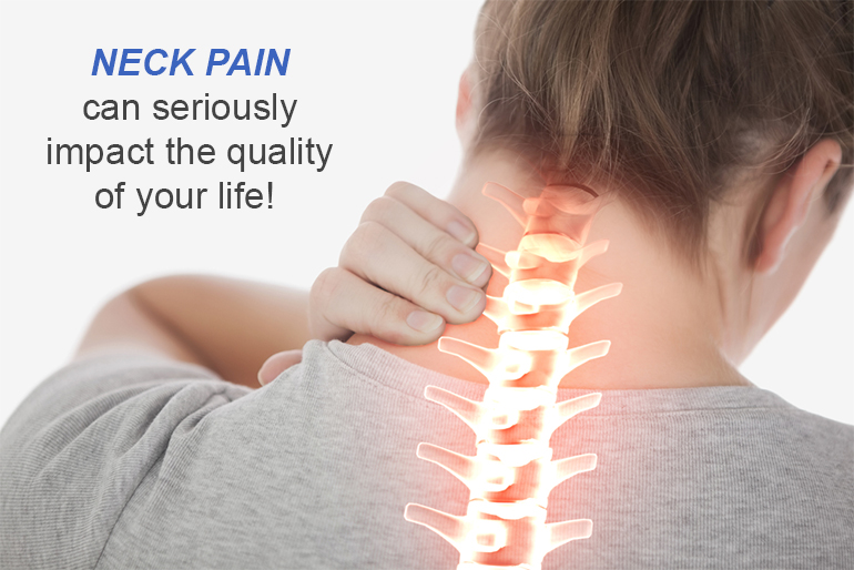 neck pain can seriously impact the quality of your life as shown by thie person holding their neck